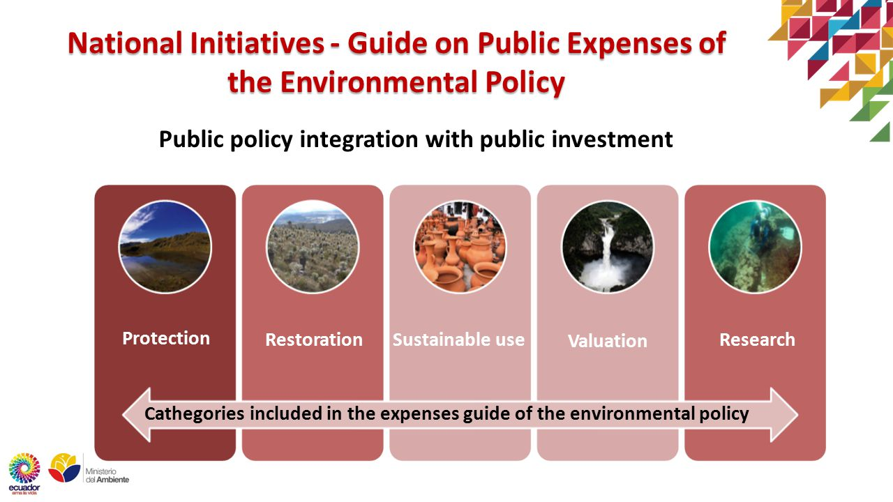 National Initiatives - Guide on Public Expenses of the Environmental Policy Public policy integration with public investment Protection Restoration Valuation Sustainable useResearch Cathegories included in the expenses guide of the environmental policy