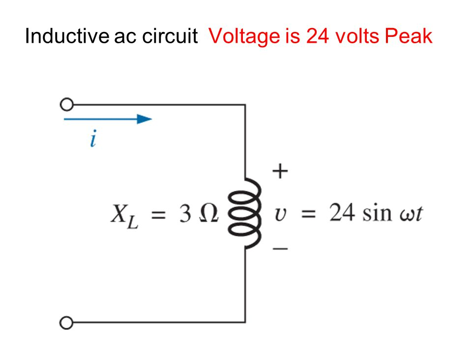 Inductive ac circuit Voltage is 24 volts Peak