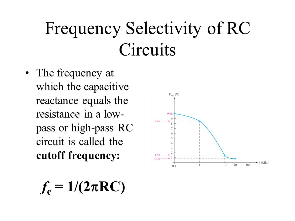 Frequency Selectivity of RC Circuits The frequency at which the capacitive reactance equals the resistance in a low- pass or high-pass RC circuit is c