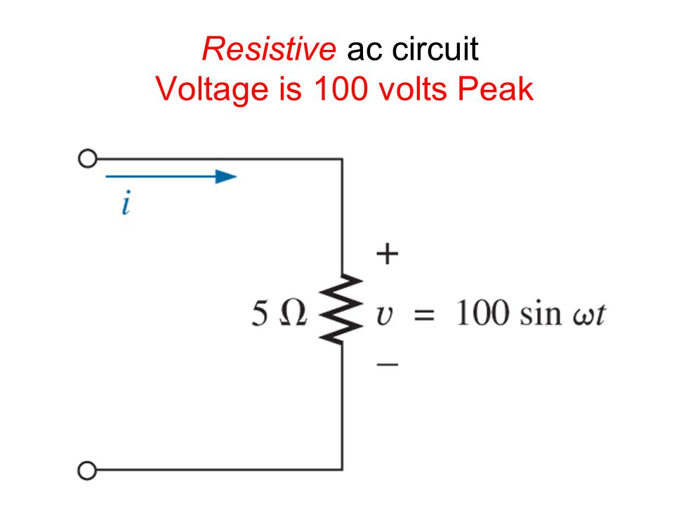 Resistive ac circuit Voltage is 100 volts Peak