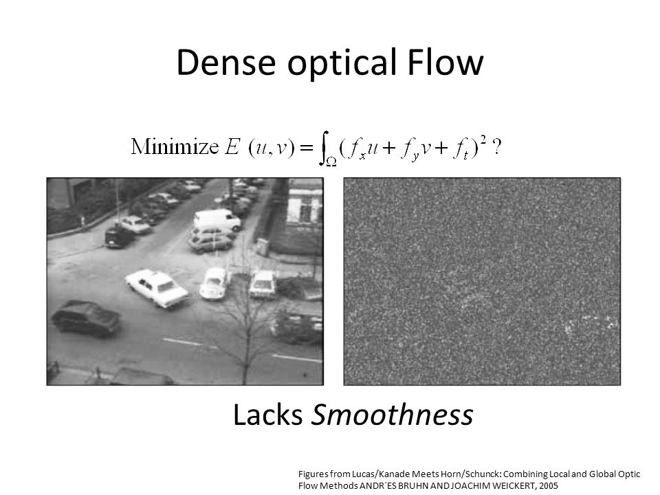 Dense optical Flow Lacks Smoothness Figures from Lucas/Kanade Meets Horn/Schunck: Combining Local and Global Optic Flow Methods ANDR´ES BRUHN AND JOACHIM WEICKERT, 2005