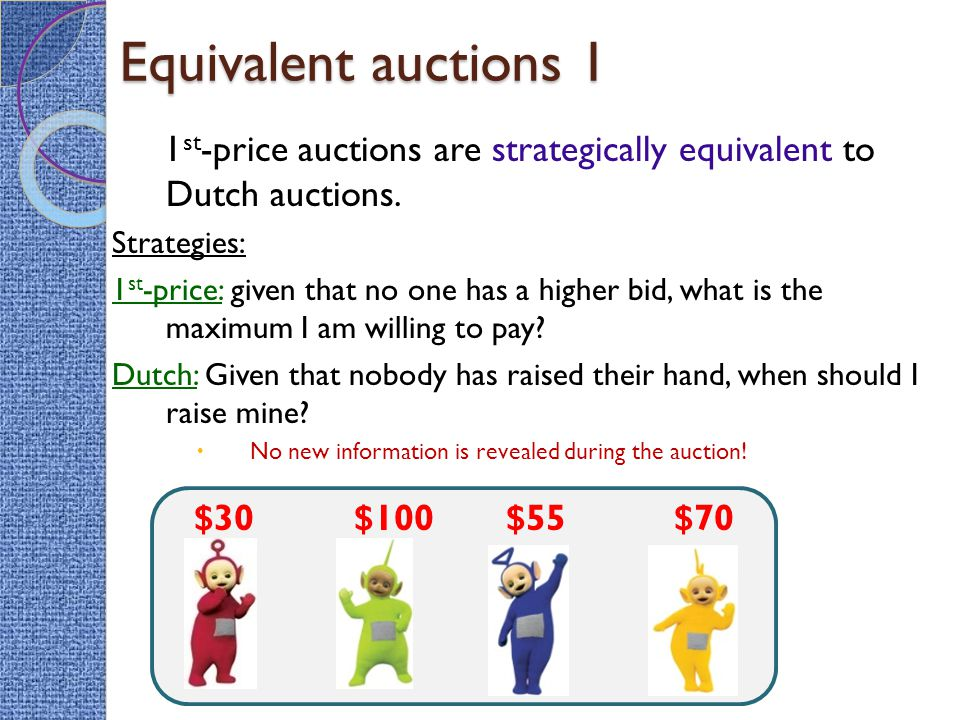 Equivalent auctions 1 1 st -price auctions are strategically equivalent to Dutch auctions.