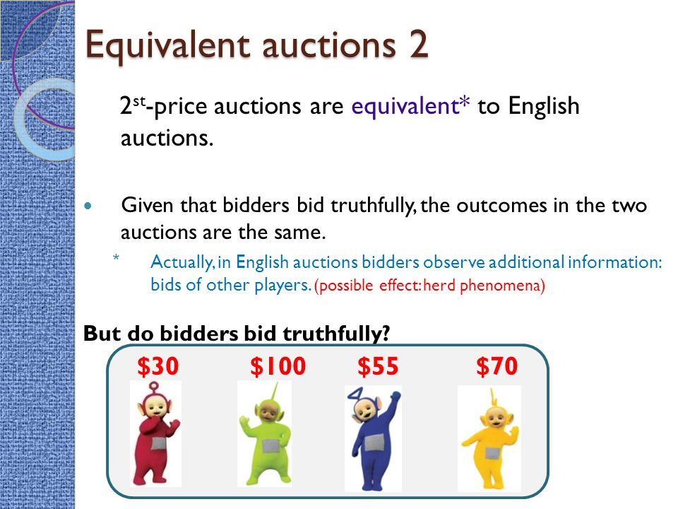 Equivalent auctions 2 2 st -price auctions are equivalent* to English auctions.