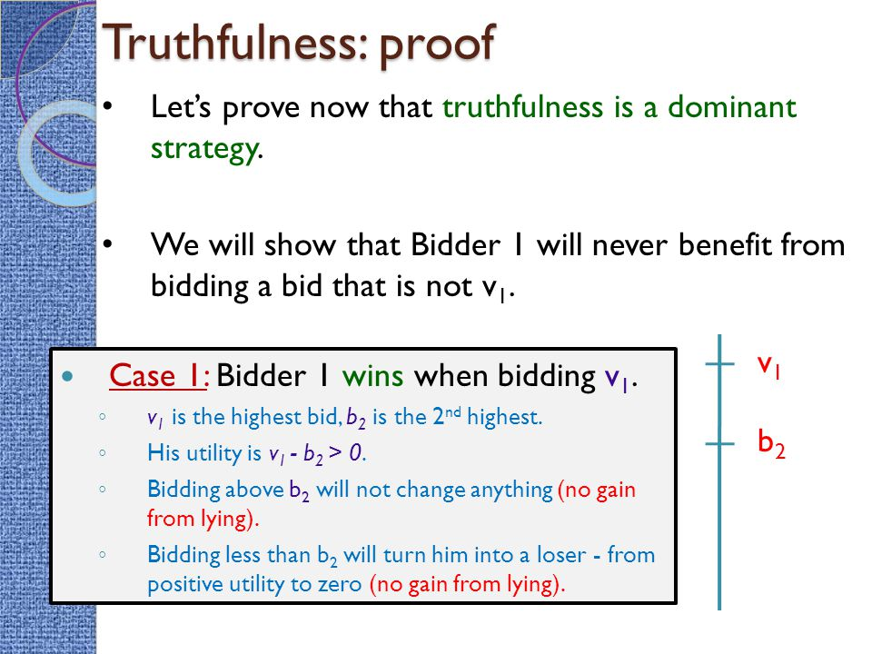 Truthfulness: proof Case 1: Bidder 1 wins when bidding v 1.
