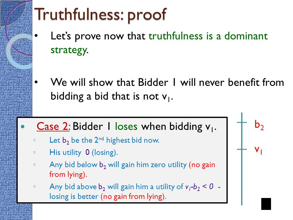 Truthfulness: proof Case 2: Bidder 1 loses when bidding v 1.
