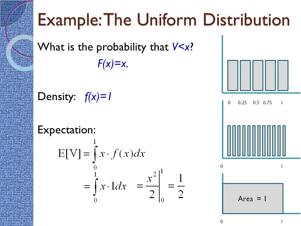 Example: The Uniform Distribution What is the probability that V<x.