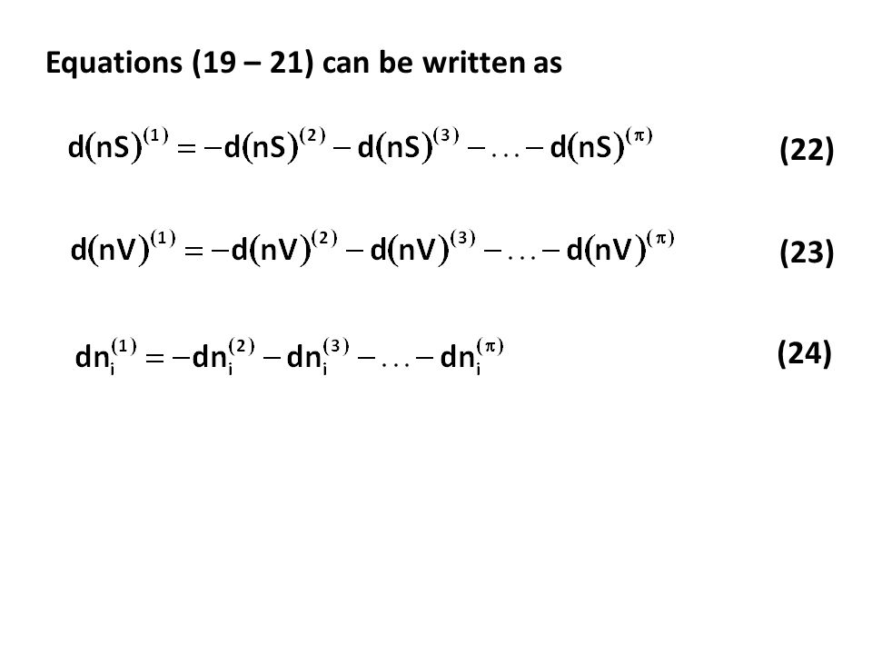 Equations (19 – 21) can be written as (22) (23) (24)