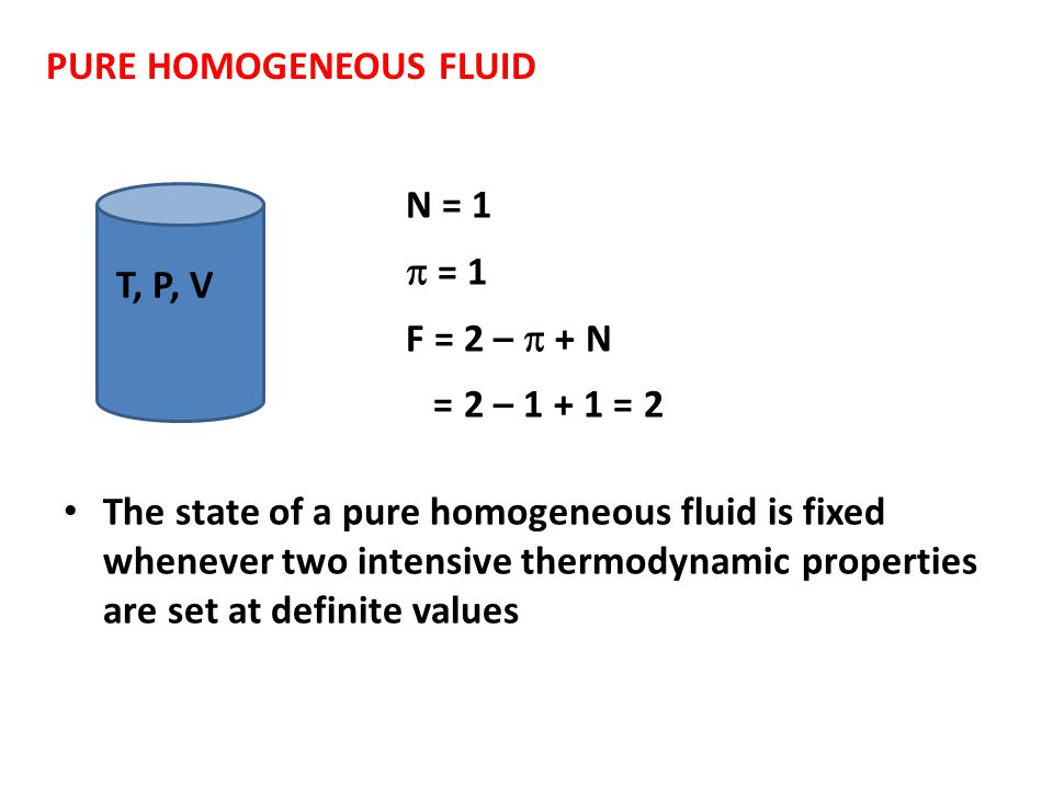 PURE HOMOGENEOUS FLUID T, P, V N = 1  = 1 F = 2 –  + N = 2 – 1 + 1 = 2 The state of a pure homogeneous fluid is fixed whenever two intensive thermod