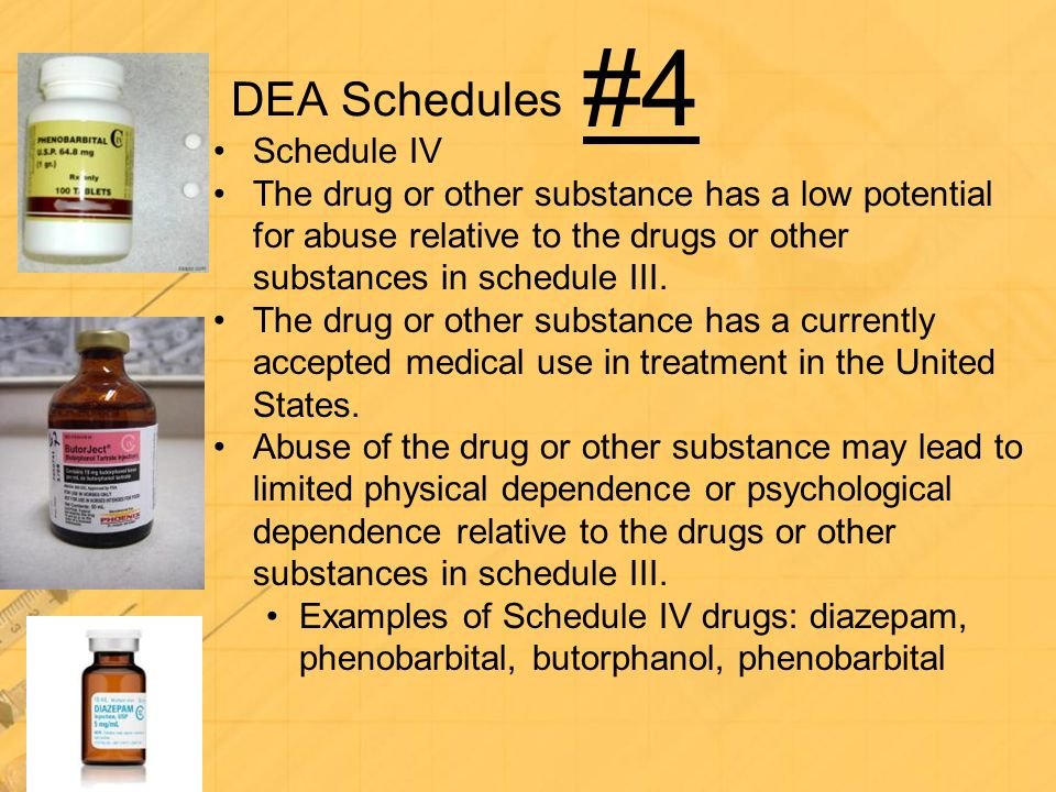 DEA Schedules Schedule IV The drug or other substance has a low potential for abuse relative to the drugs or other substances in schedule III. The dru