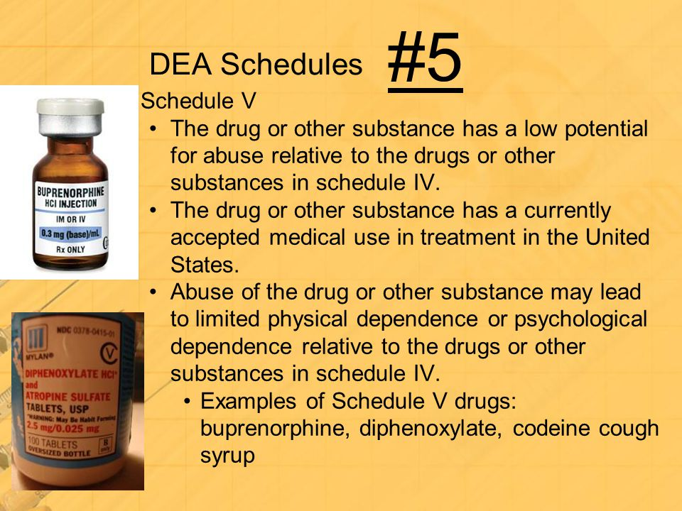DEA Schedules Schedule V The drug or other substance has a low potential for abuse relative to the drugs or other substances in schedule IV. The drug