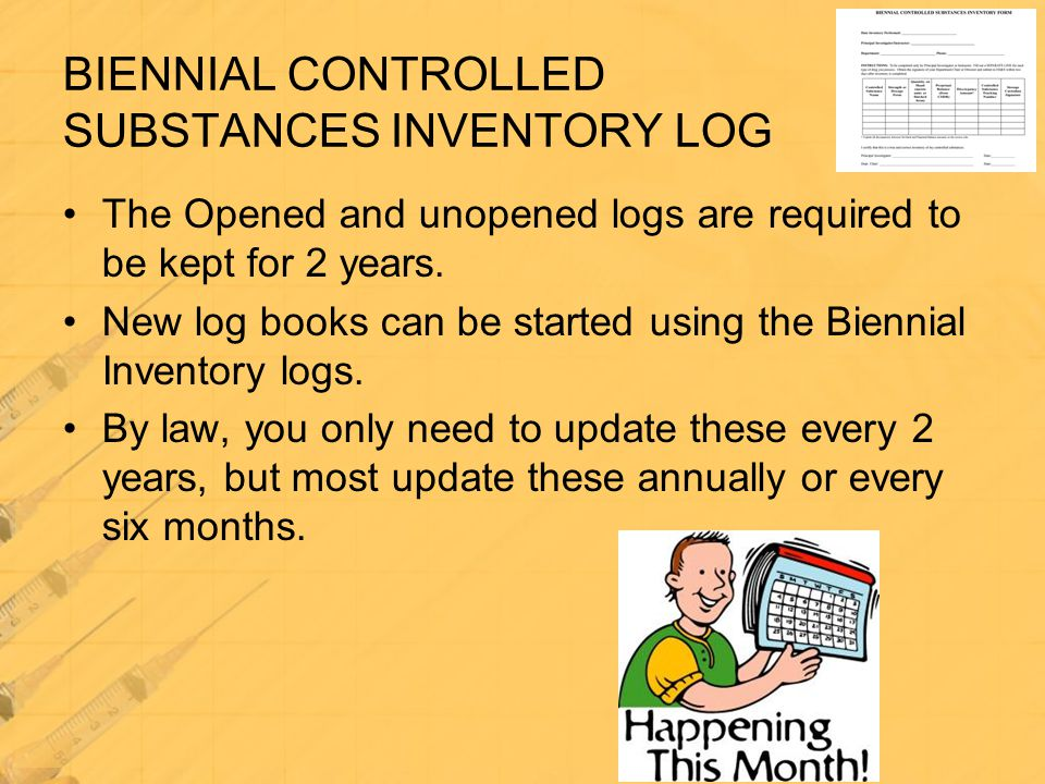 The Opened and unopened logs are required to be kept for 2 years. New log books can be started using the Biennial Inventory logs. By law, you only nee
