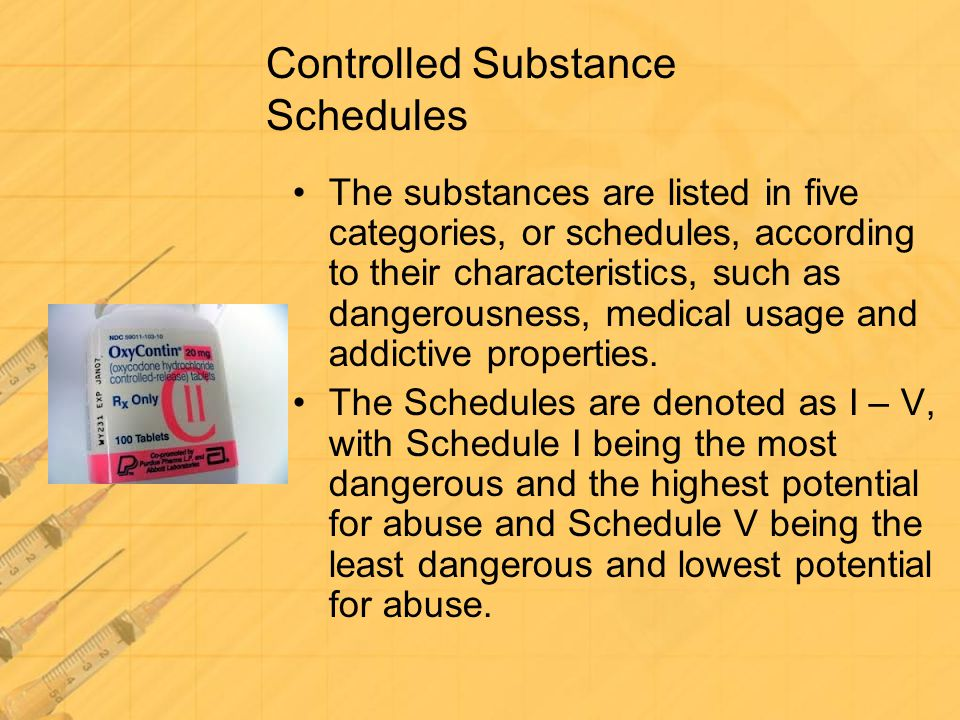 Controlled Substance Schedules The substances are listed in five categories, or schedules, according to their characteristics, such as dangerousness,