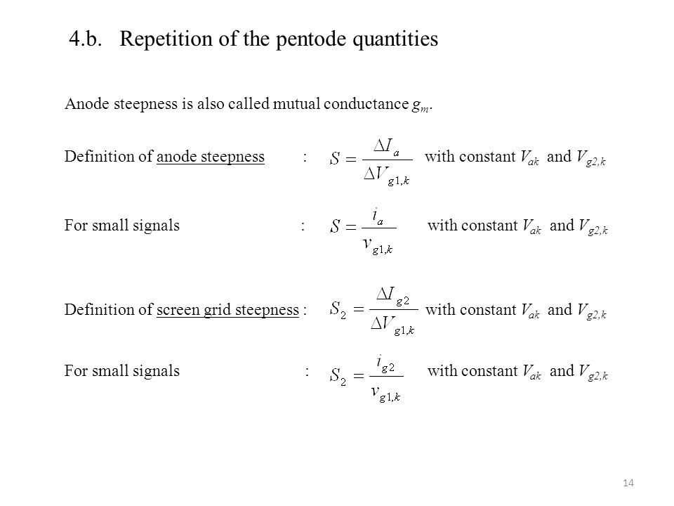 4.b. Repetition of the pentode quantities Anode steepness is also called mutual conductance g m.