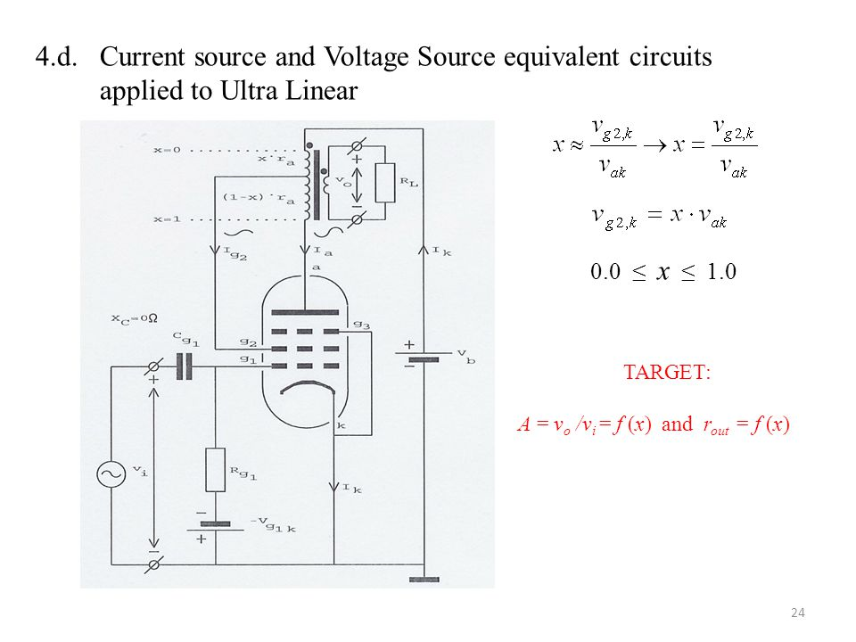4.d. Current source and Voltage Source equivalent circuits applied to Ultra Linear 0.0 ≤ x ≤ 1.0 TARGET: A = v o /v i = f (x) and r out = f (x) 24