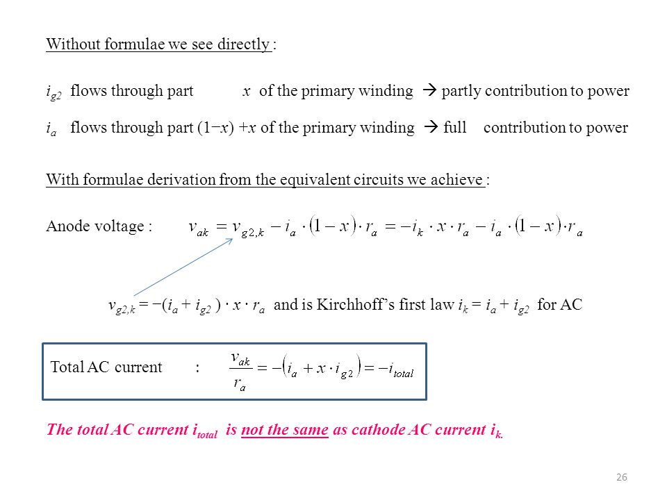 Without formulae we see directly : i g2 flows through part x of the primary winding  partly contribution to power i a flows through part (1−x) +x of the primary winding  full contribution to power With formulae derivation from the equivalent circuits we achieve : Anode voltage : v g2,k = −(i a + i g2 ) ∙ x ∙ r a and is Kirchhoff's first law i k = i a + i g2 for AC Total AC current : The total AC current i total is not the same as cathode AC current i k.