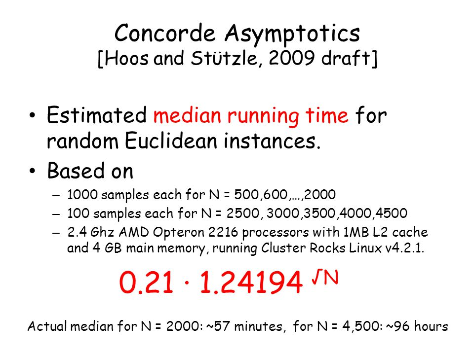 Concorde Asymptotics [Hoos and Stϋtzle, 2009 draft] Estimated median running time for random Euclidean instances.