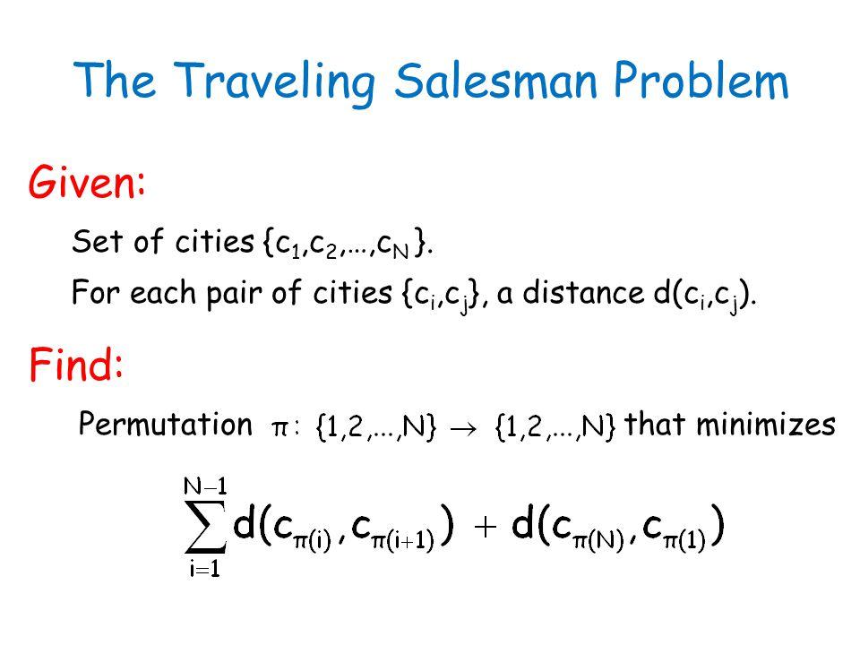 The Traveling Salesman Problem Given: Set of cities {c 1,c 2,…,c N }. For each pair of cities {c i,c j }, a distance d(c i,c j ). Find: Permutation th