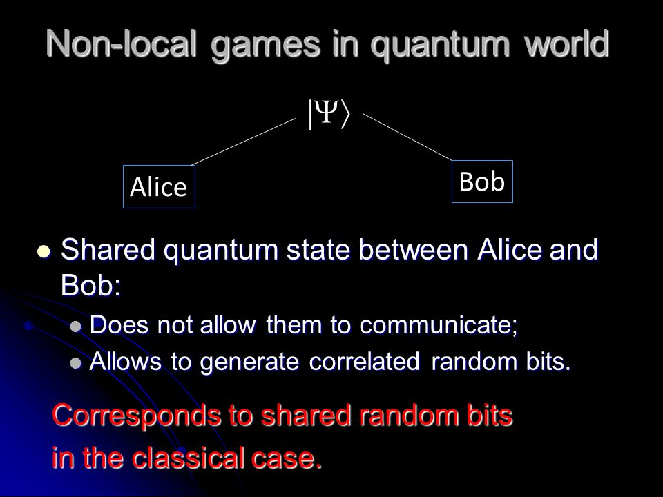 Non-local games in quantum world Shared quantum state between Alice and Bob: Shared quantum state between Alice and Bob: Does not allow them to communicate; Does not allow them to communicate; Allows to generate correlated random bits.