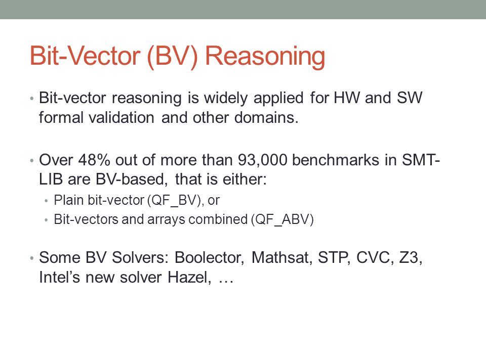 BV Operations in SMT-LIB 2.0 Core =/bvcomp distinct ite Bit-wise and**/bvand or**/bvor xor**/bvxor =>** bvnot bvnand bvnor bvxnor bvneg Bit-prop.