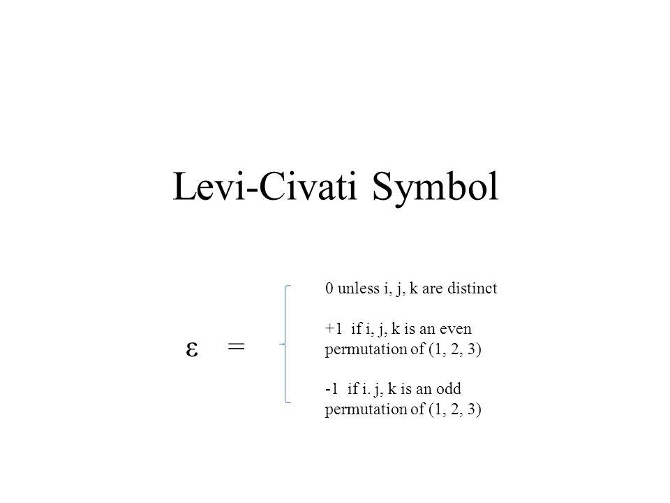Derivation of the Cross Product = (ε 121 u 2 v 1 + ε 122 u 2 v 2 + ε 123 u 2 v 3 + ε 131 u 3 v 1 + ε 132 u 3 v 2 + ε 133 u 3 v 3 ) e 1 + (ε 211 u 1 v 1 + ε 212 u 1 v 2 + ε 213 u 1 v 3 + ε 231 u 3 v 1 + ε 232 u 3 v 2 + ε 233 u 3 v 3 )e 2 + (ε 311 u 1 v 1 + ε 312 u 1 v 2 + ε 313 u 1 v 3 + ε 321 u 2 v 1 + ε 322 u 2 v 2 + ε 323 u 2 v 3 ) e 3