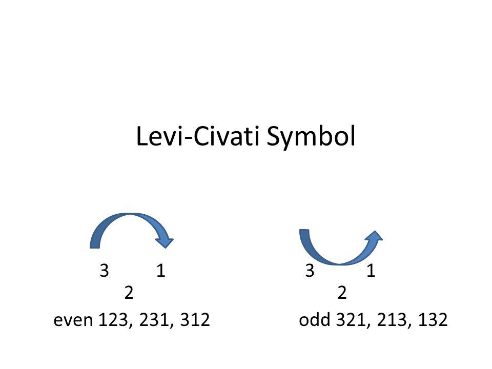 Levi-Civati Symbol 3 1 3 1 2 2 even 123, 231, 312 odd 321, 213, 132