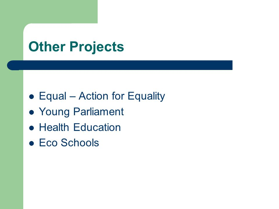 Other Projects Equal – Action for Equality Young Parliament Health Education Eco Schools