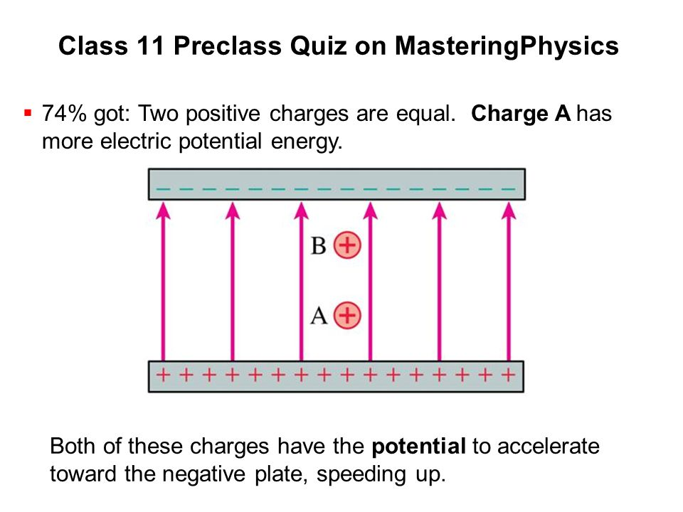 Class 11 Preclass Quiz on MasteringPhysics  74% got: Two positive charges are equal. Charge A has more electric potential energy. Both of these charg
