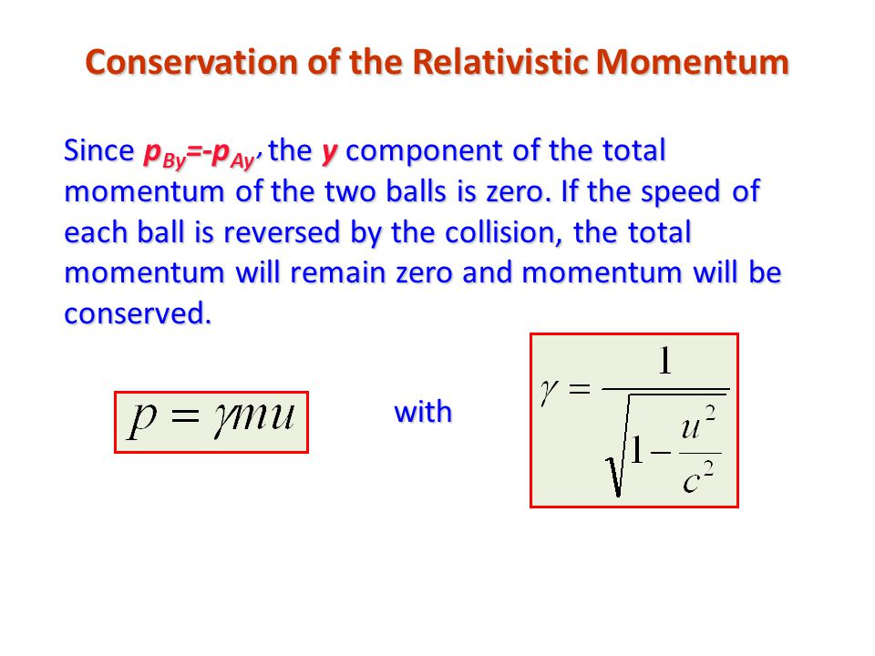 Conservation of the Relativistic Momentum Since p By =-p Ay' the y component of the total momentum of the two balls is zero. If the speed of each ball