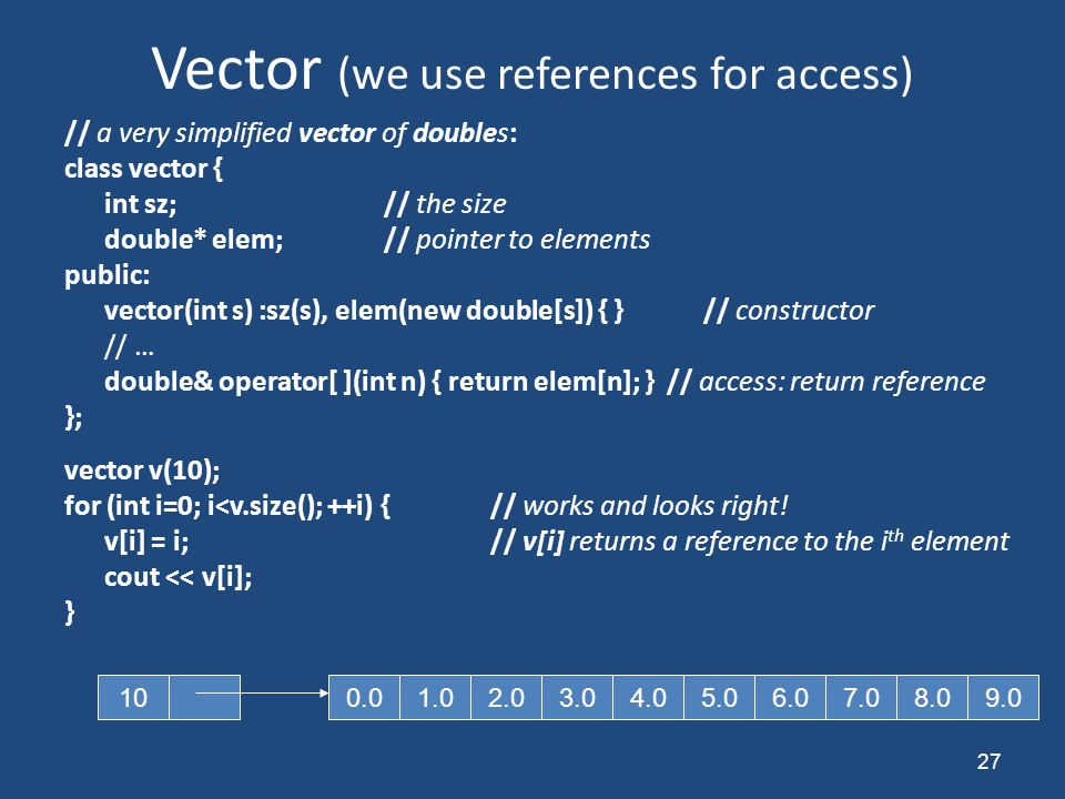 Vector (we use references for access) // a very simplified vector of doubles: class vector { int sz;// the size double* elem;// pointer to elements pu