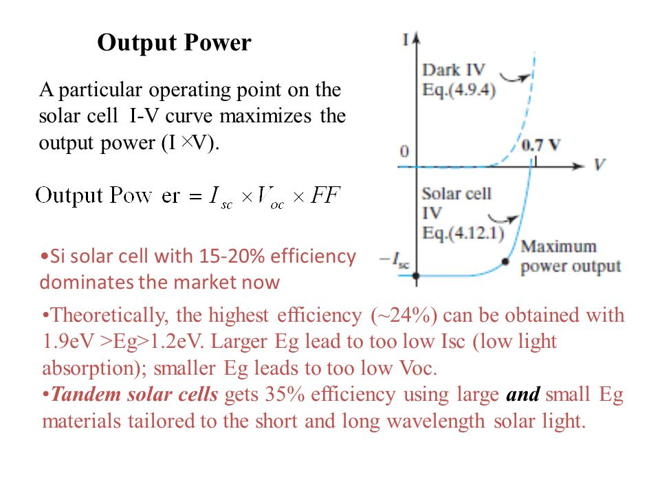 Output Power Theoretically, the highest efficiency (~24%) can be obtained with 1.9eV >Eg>1.2eV.