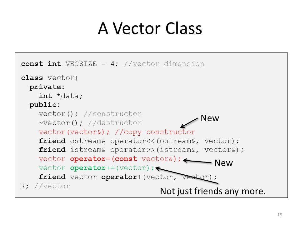 A Vector Class const int VECSIZE = 4; //vector dimension class vector{ private: int *data; public: vector(); //constructor ~vector(); //destructor vec