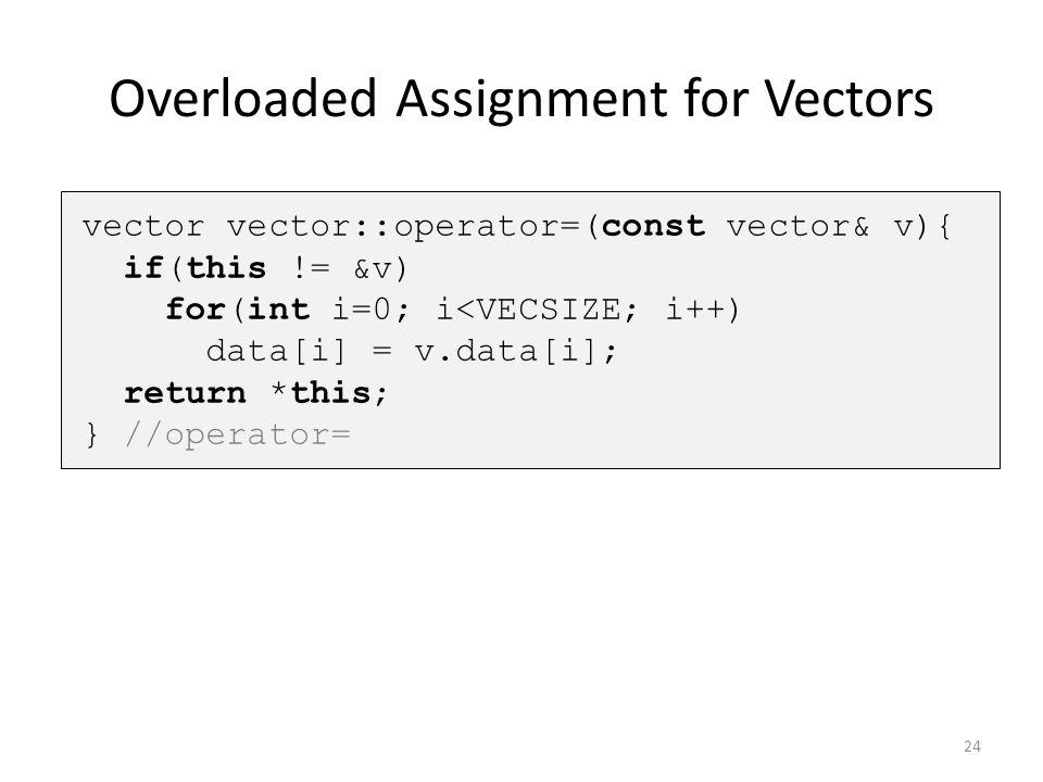 Overloaded Assignment for Vectors 24 vector vector::operator=(const vector& v){ if(this != &v) for(int i=0; i<VECSIZE; i++) data[i] = v.data[i]; retur