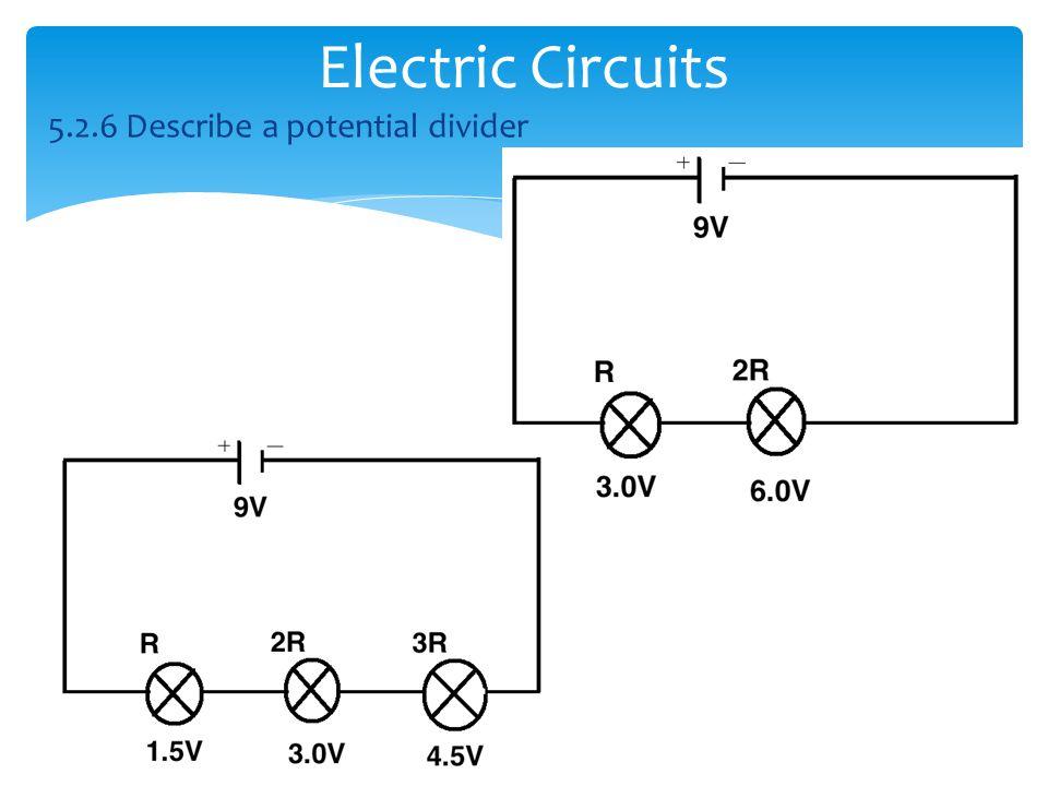 Electric Circuits 5.2.6 Describe a potential divider