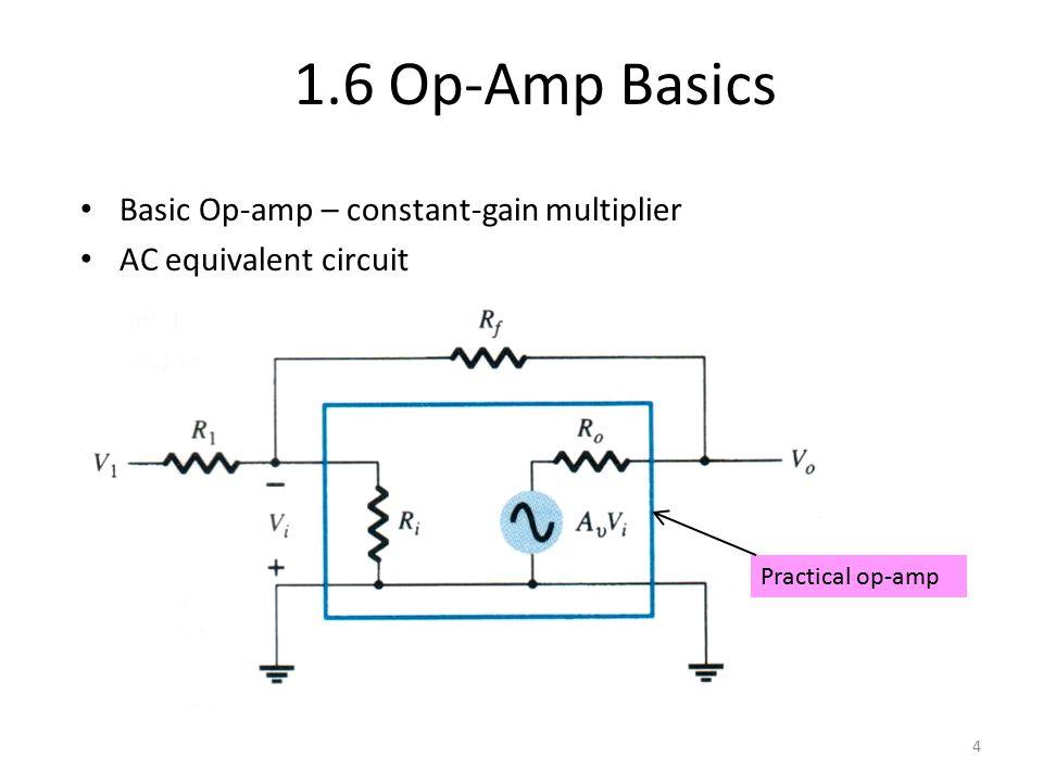 Basic Op-amp – constant-gain multiplier AC equivalent circuit 1.6 Op-Amp Basics 4 Practical op-amp