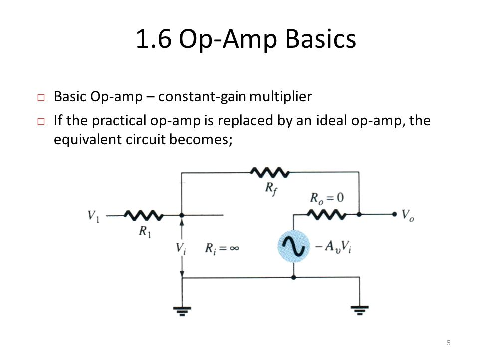  Basic Op-amp – constant-gain multiplier  If the practical op-amp is replaced by an ideal op-amp, the equivalent circuit becomes; 1.6 Op-Amp Basics 5