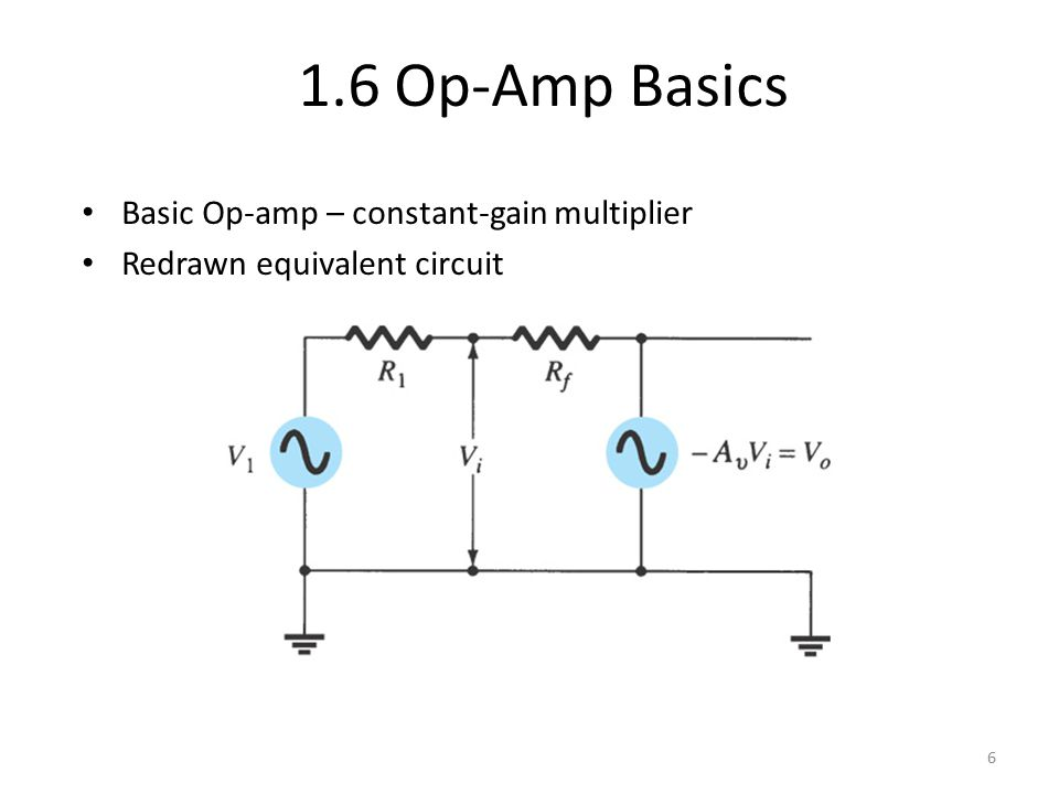 Basic Op-amp – constant-gain multiplier Redrawn equivalent circuit 6