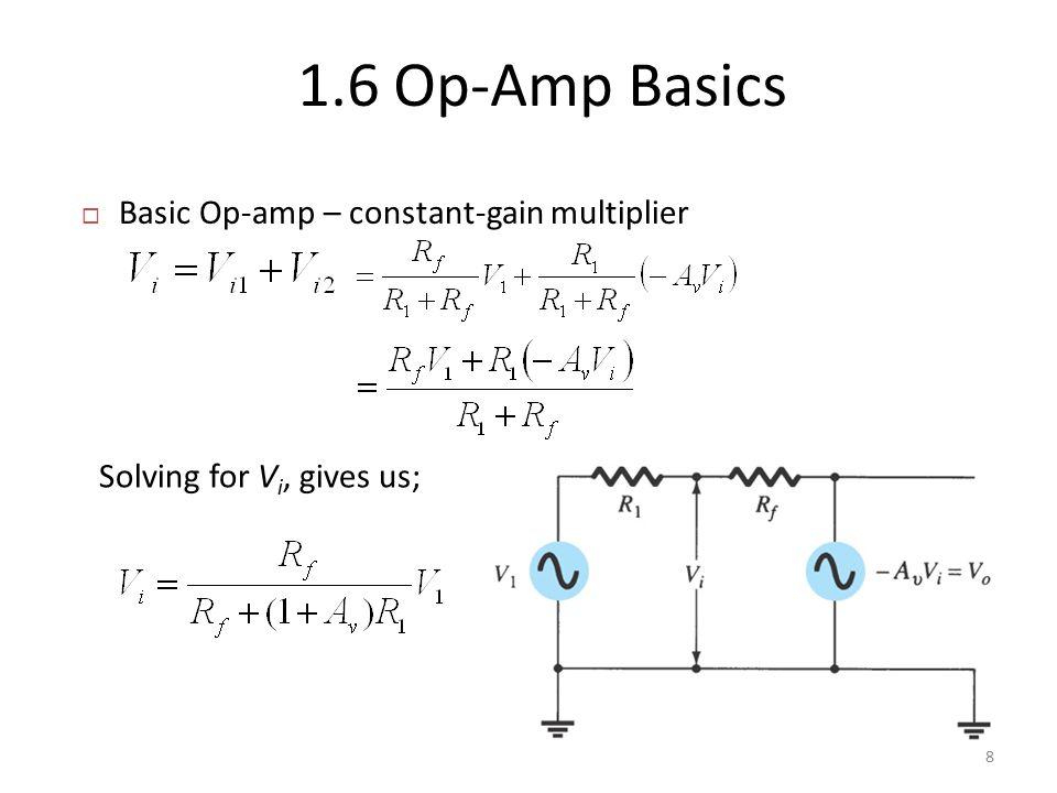  Basic Op-amp – constant-gain multiplier 1.6 Op-Amp Basics 8 Solving for V i, gives us;