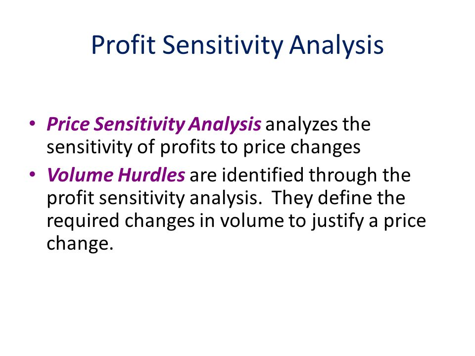 Volume Hurdle Consider a Price Change – How would volume need to change in order to improve profitability.