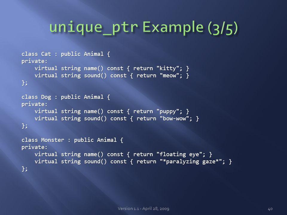 class Cat : public Animal { private: virtual string name() const { return