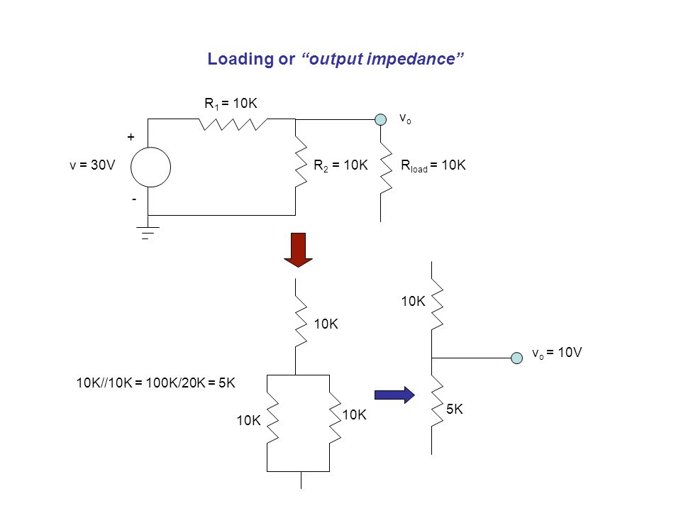 Loading or output impedance R 2 = 10Kv = 30V + - vovo R load = 10K R 1 = 10K 10K 5K v o = 10V 10K//10K = 100K/20K = 5K