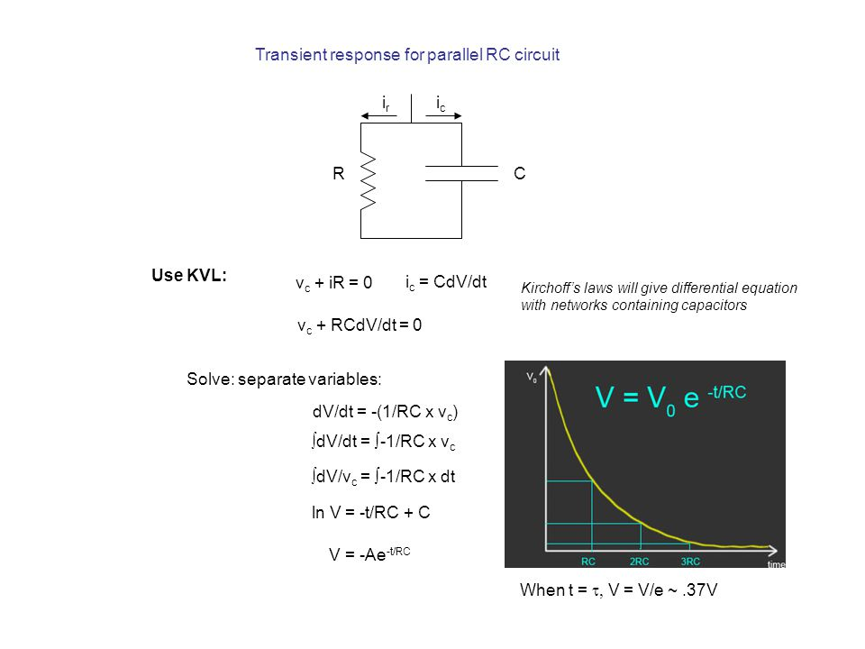 RC icic Transient response for parallel RC circuit Use KVL: v c + iR = 0 i c = CdV/dt v c + RCdV/dt = 0 Kirchoff's laws will give differential equation with networks containing capacitors Solve: separate variables: dV/dt = -(1/RC x v c )  dV/dt = ∫-1/RC x v c  dV/v c = ∫-1/RC x dt ln V = -t/RC + C V = -Ae -t/RC irir When t =  V = V/e ~.37V