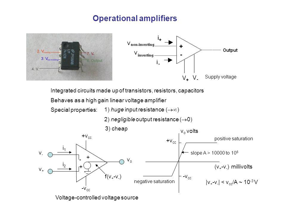 Operational amplifiers Integrated circuits made up of transistors, resistors, capacitors Behaves as a high gain linear voltage amplifier Special properties: 1) huge input resistance (  ) 2) negligible output resistance (  0) 3) cheap v-v- v+v+ -v cc +v cc i1i1 i2i2 - + + - vovo f(v + -v - ) Supply voltage v o volts +v cc -v cc positive saturation negative saturation (v + -v - ) millivolts slope A > 10000 to 10 6 |v + -v - | < v cc /A ~ 10 -3 V Voltage-controlled voltage source