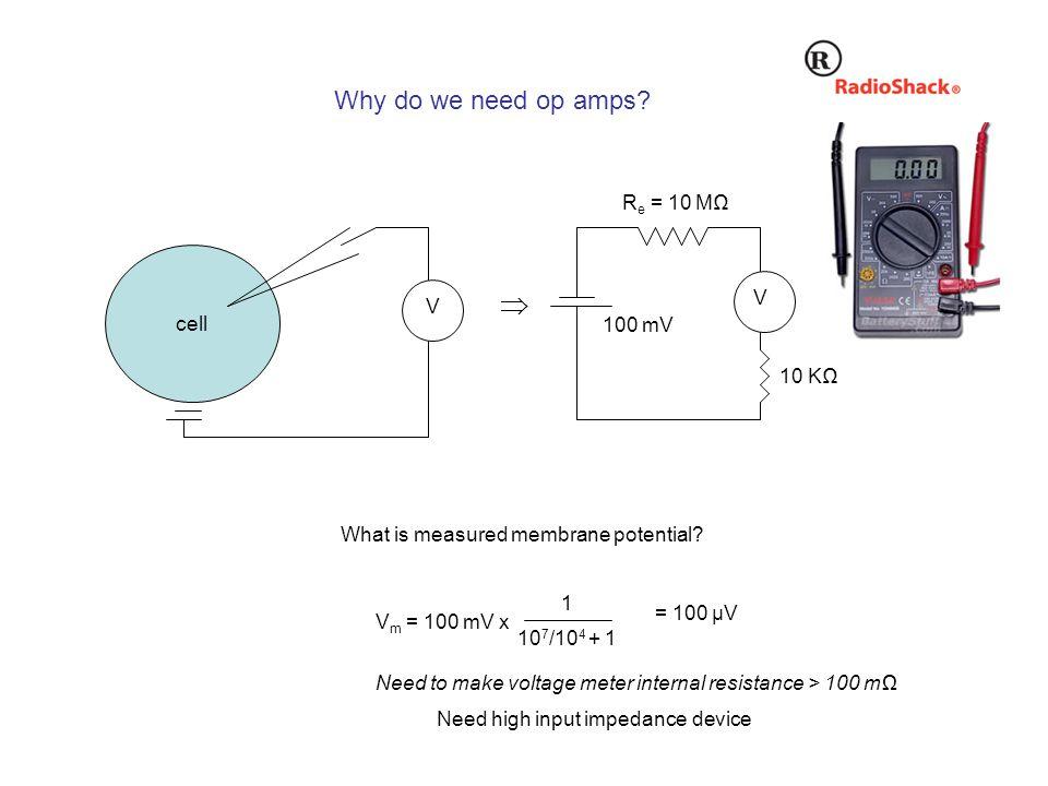 Why do we need op amps. cell V  V R e = 10 MΩ 10 KΩ What is measured membrane potential.