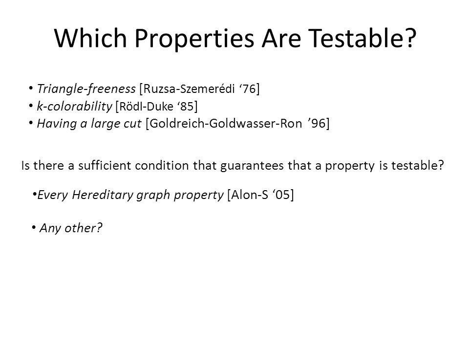 Triangle-freeness [Ruzsa- Szemerédi '76 ] k-colorability [ Rödl-Duke '85 ] Having a large cut [Goldreich-Goldwasser-Ron '96] Which Properties Are Testable.