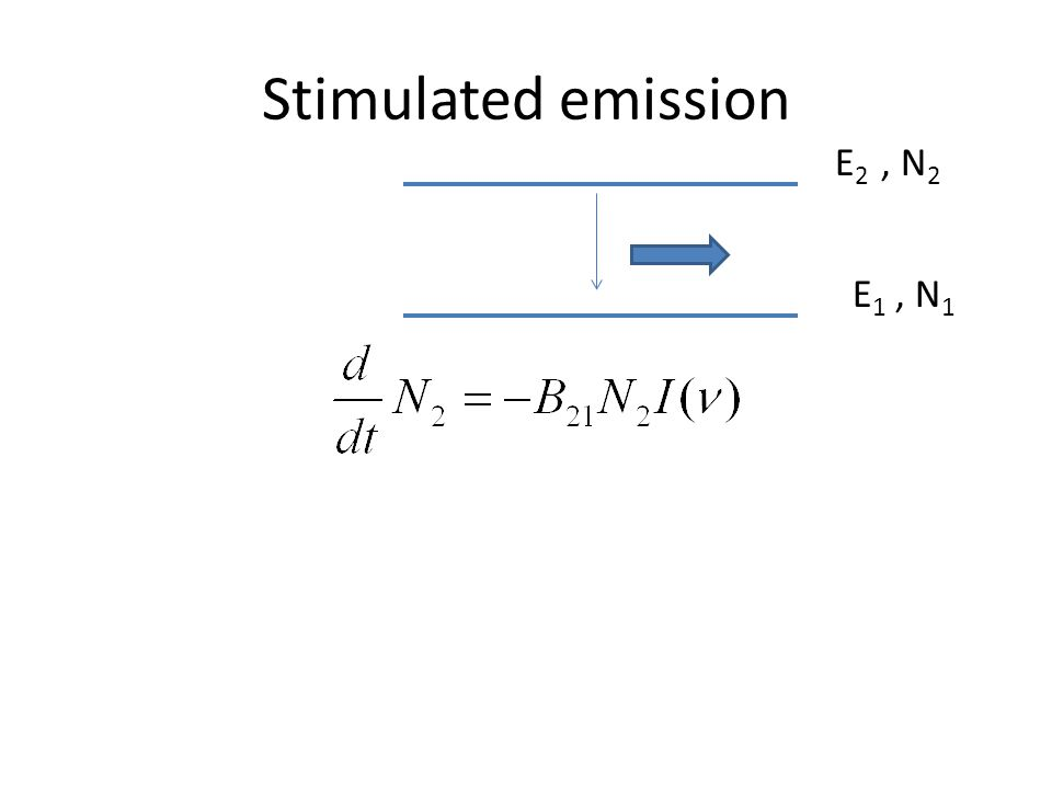 Stimulated emission E 1, N 1 E 2, N 2