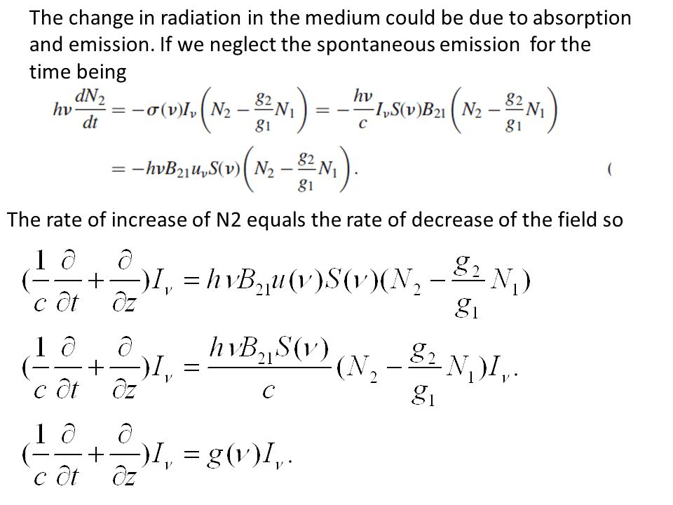 The change in radiation in the medium could be due to absorption and emission.
