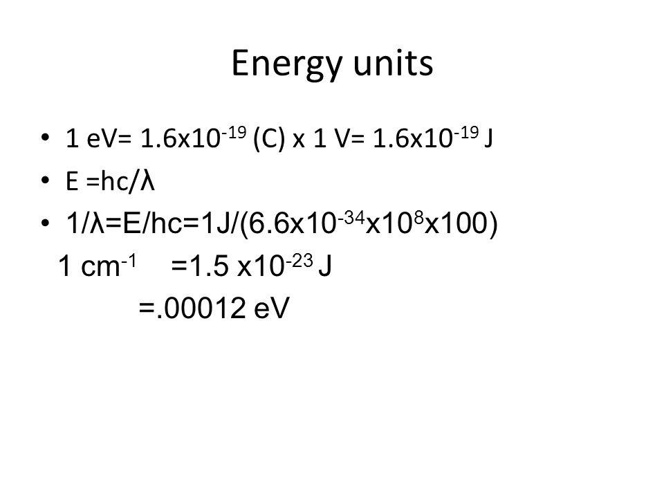 Energy units 1 eV= 1.6x10 -19 (C) x 1 V= 1.6x10 -19 J E =hc/ λ 1/λ=E/hc=1J/(6.6x10 -34 x10 8 x100) 1 cm -1 =1.5 x10 -23 J =.00012 eV