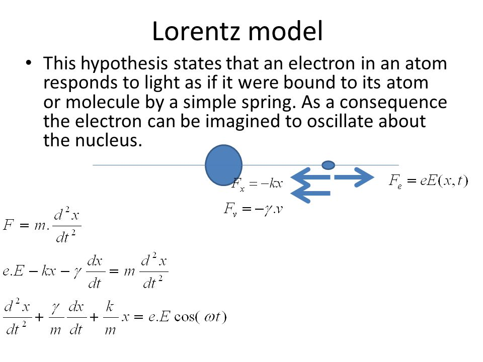 Electron Natural oscillation: Solution if no external field and no friction This corresponds to the spontaneous emission In the presence of External field, the electron can absorb energy only if ω= ω o The friction correspond to radiation losses in the material.