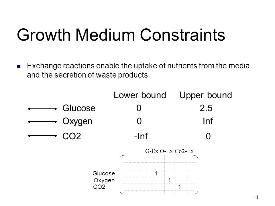 11 Growth Medium Constraints Exchange reactions enable the uptake of nutrients from the media and the secretion of waste products Oxygen 0 Inf Glucose