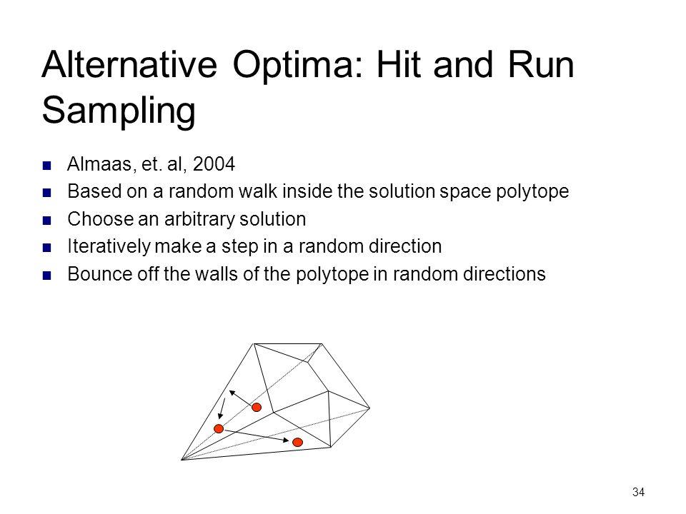 34 Alternative Optima: Hit and Run Sampling Almaas, et. al, 2004 Based on a random walk inside the solution space polytope Choose an arbitrary solutio